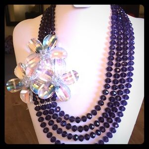 3 Flower Multi Strand Layered Necklace